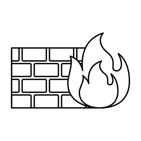 brick wall on fire flame burning vector illustration outline Ilustrace
