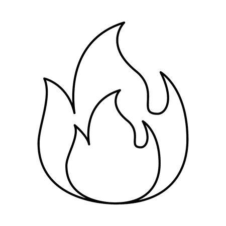 fire flame burning danger hot image vector illustration outline Illustration