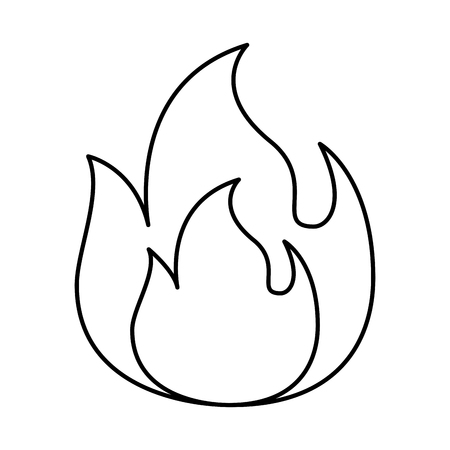 fire flame burning danger hot image vector illustration outline Çizim