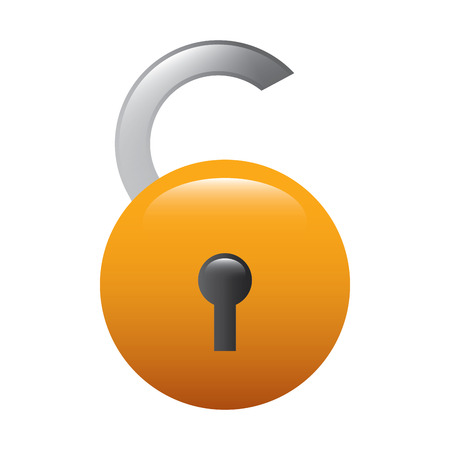 open padlock ecurity risk attack protection vector illustration