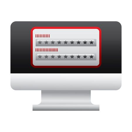 screen computer password login access vector illustration