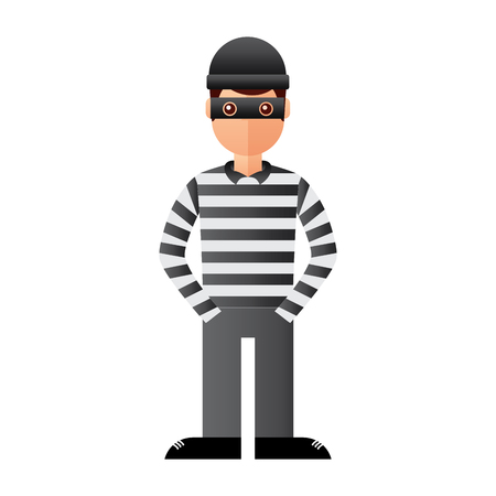 hacker male character with mask and striped shirt vector illustration Illustration