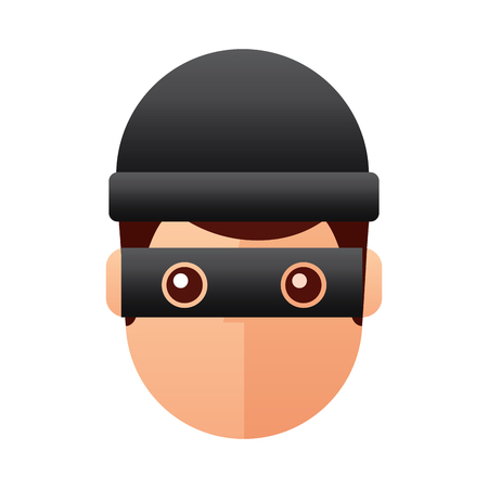 hacker man face with mask and cap cartoon vector illustration
