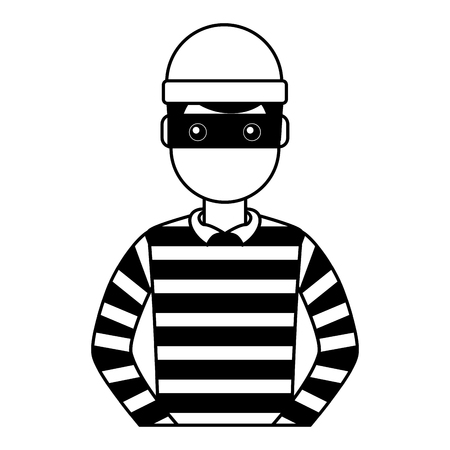 male thief avatar mask cap and striped clothes vector illustration outline