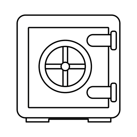metallic safe box with closed door money storage security vector illustration outline  イラスト・ベクター素材