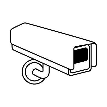 surveillance camera warning privacy safety vector illustration outline Ilustração