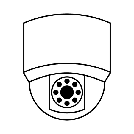 ceiling surveillance camera security technology vector illustration outline