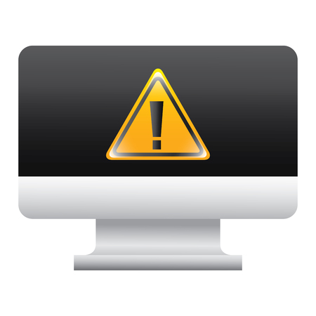screen computer sign warning alert virus vector illustration