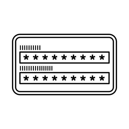 acceso de contraseña de seguridad contraseña ilustración vectorial esquema de protección