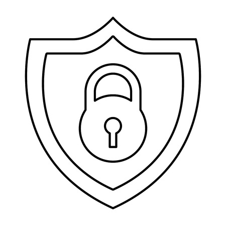 shield protection padlock secure data vector illustration outline