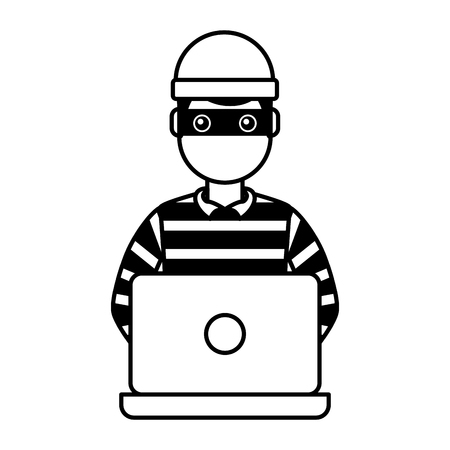 hacker male character working in laptop vector illustration outline