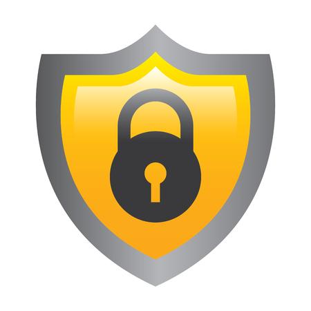 Schild Schutz Vorhängeschloss sichere Daten Vektor-Illustration Standard-Bild - 96012415