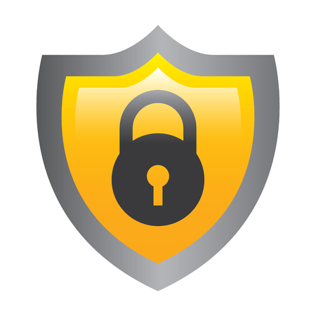 shield protection padlock secure data vector illustration