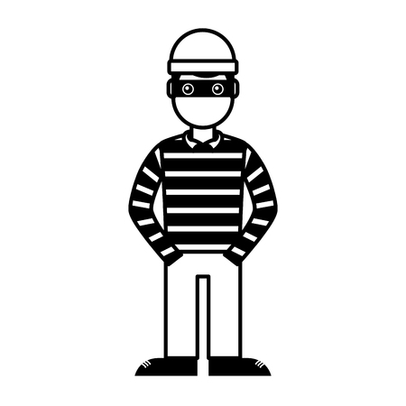 hacker male character with mask and striped shirt vector illustration outline Çizim