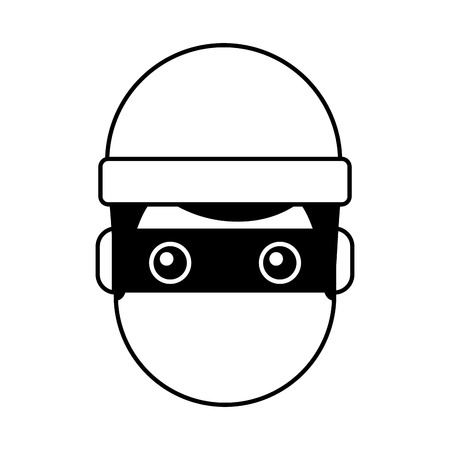 hacker man face with mask and cap cartoon vector illustration outline