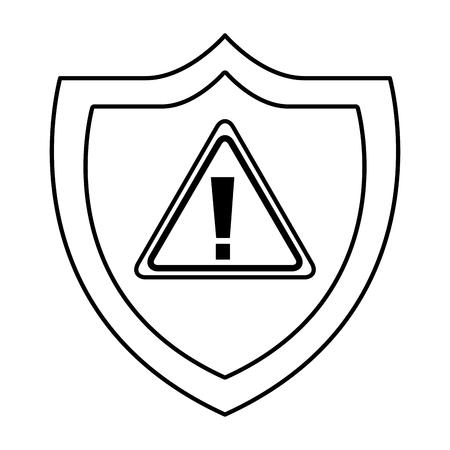 shield protection warning alert error data vector illustration outline 向量圖像