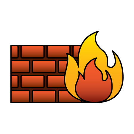 brick wall on fire flame burning vector illustration Stock Vector - 96014161