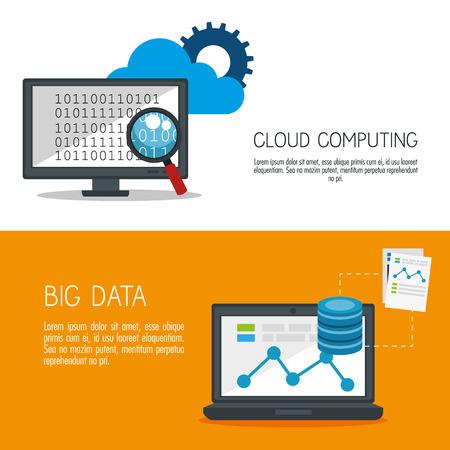 big data icons set vector illustration design Vecteurs