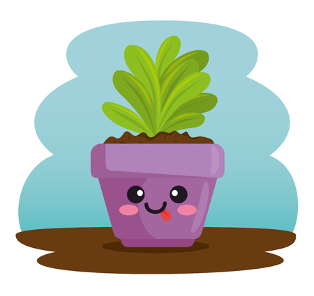 cute plant in pot character vector illustration design Ilustração