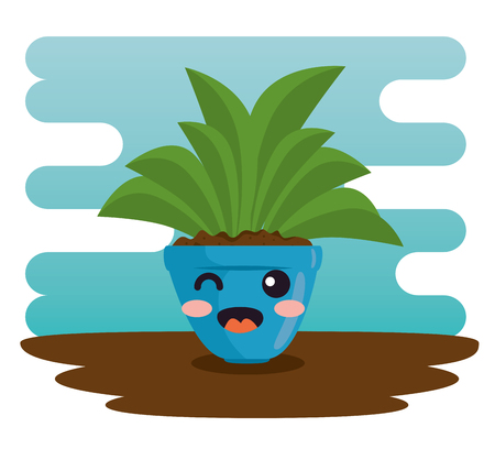 cute plant in pot character vector illustration design  イラスト・ベクター素材