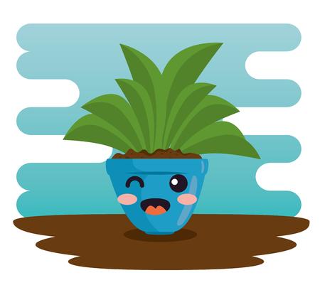 Plante mignonne dans le pot illustration vectorielle de conception de caractère Banque d'images - 96018114