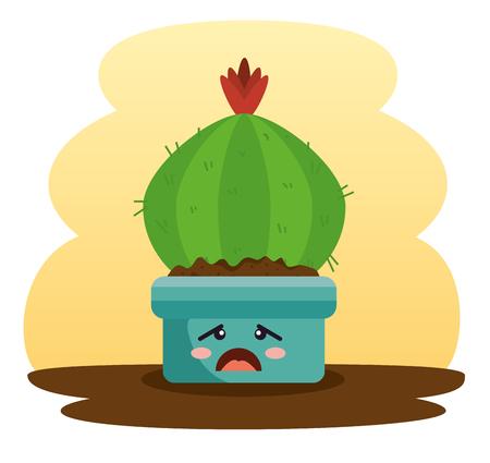 cute plant in pot character vector illustration design Illustration