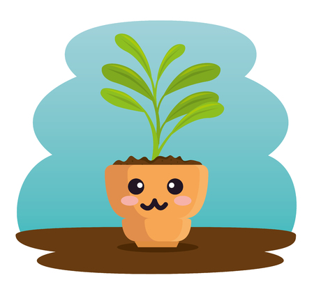 cute plant in pot character vector illustration design Illustration