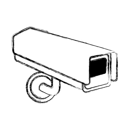 surveillance camera warning privacy safety vector illustration doodle graphic