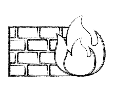 brick wall blocks construction concret image vector illustration doodle graphic Illustration
