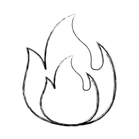 fire flame burning danger hot image vector illustration doodle graphic