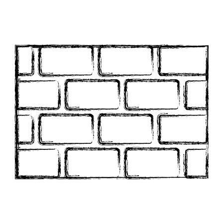 brick wall blocks construction concret image vector illustration doodle graphic Vettoriali