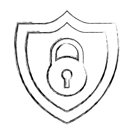 shield protection padlock secure data vector illustration doodle graphic
