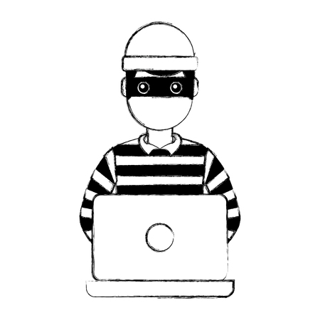 hacker male character working in laptop vector illustration doodle graphic 向量圖像