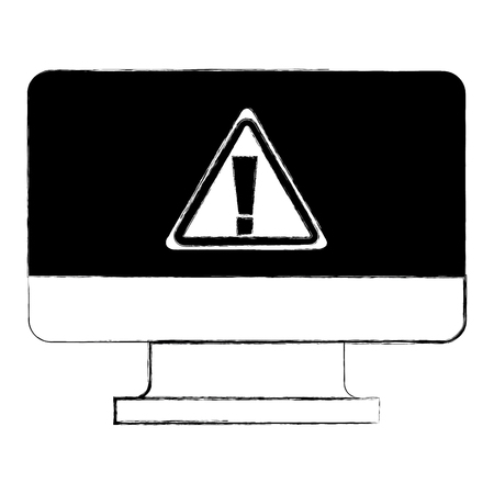 screen computer sign warning alert virus vector illustration doodle graphic