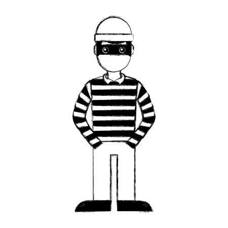 hacker male character with mask and striped shirt vector illustration doodle graphic Illustration
