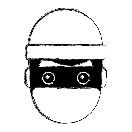 hacker man face with mask and cap cartoon vector illustration doodle graphic Stock Illustratie