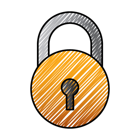 close padlock security protection data cyber safety vector illustration drawing graphic