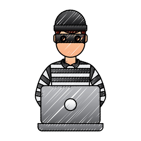 hacker male character working in laptop vector illustration drawing graphic Illustration