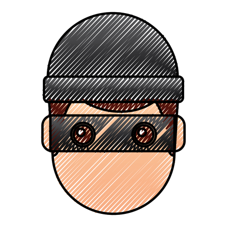 hacker man face with mask and cap cartoon vector illustration drawing graphic