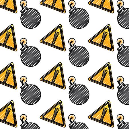 bomb warning alert error sign pattern image drawing graphic