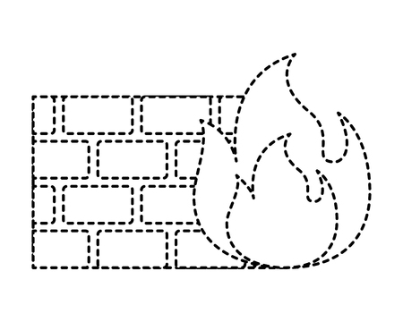 brick wall blocks construction concret image vector illustration dotted line graphic Illustration