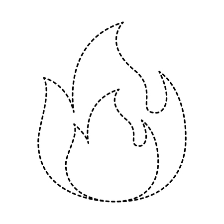 fire flame burning danger hot image vector illustration dotted line graphic