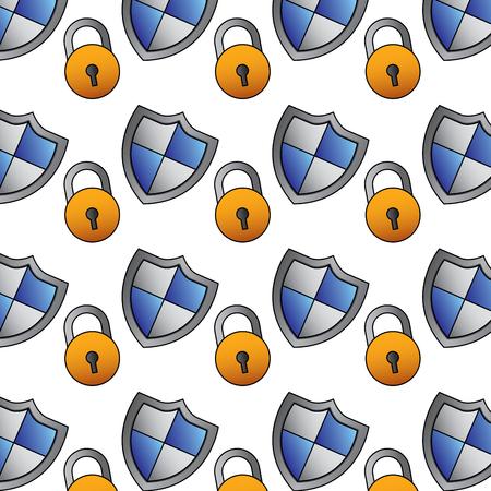 Schild Schutz Vorhängeschloss Zugang Datensicherheit Muster Standard-Bild - 96029968