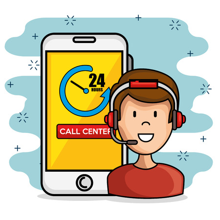 call center support concept vector illustration graphic design