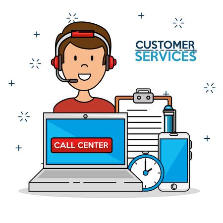 Bemannen Sie Ikone mit Laptop Smartphonezeit-Support-Center-Service, Vektorillustration