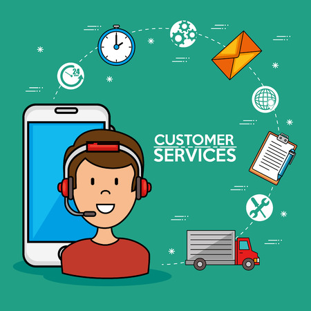 Man call center service speaking by phone, icons smarphone, vector illustration Illustration