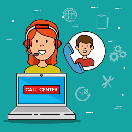 Woman Support Call center phone service, Vector illustration