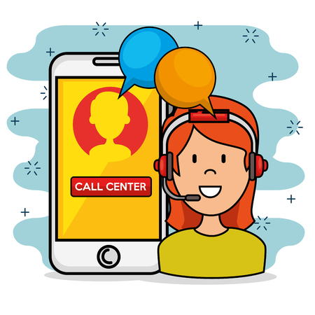 Woman with headset speaking call center support service and smarphone, vector illustration Stock Illustratie