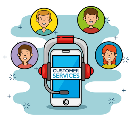 Smartphone with icons around support service vector illustration Illustration