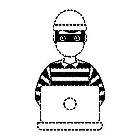 hacker male character working in laptop vector illustration dotted line graphic Illustration